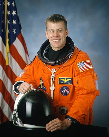 Astronaut Willie McCool, STS-107 pilot, NASA photo JSC2001-02492 (10 August 2001)Source: Wikipedia (spaceflight.nasa.gov killed 25 Feb 2021) 384px-William_Cameron_McCool.jpg
