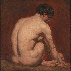 anonymous: Male Nude, Kneeling, from the Back