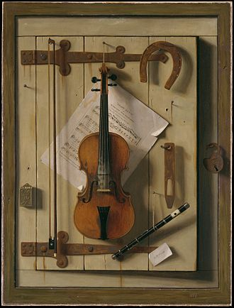 Trompe-l'œil - Still life Violin and Music by William Michael Harnett