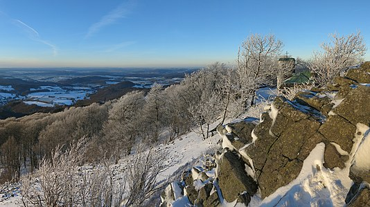 Winter on the Misleburg in the Rhoen Mountains