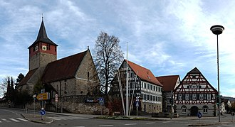 Winterbach, Baden-Württemberg - Center of Village, left side: church St. Michael; on the right hand: old and new town hall (half-timbered)