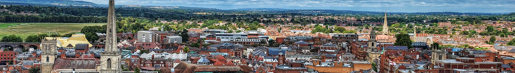 Worcester from the tower of Worcester Cathedral, Worcestershire