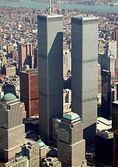 The World Trade Center's Twin Towers as seen from the air