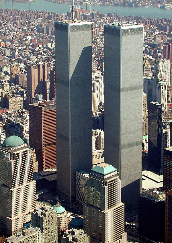 The completed World Trade Center in March 2001 World Trade Center, New York City - aerial view (March 2001).jpg