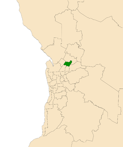 Map of Adelaide, South Australia with electoral district of Wright highlighted