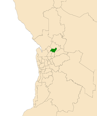 Electoral district of Wright - Electoral district of Wright (green) in the Greater Adelaide area