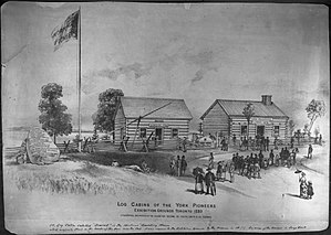 Fort Rouillé - Image: York Pioneers Cabins & Cairn 1880