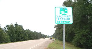 Louisiana Highway 10 - A marker on eastbound LA 10 between Clinton and Greensburg identifying the route as part of the Zachary Taylor Parkway.