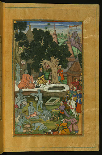 Mughal Empire - Babur, the founder of the Mughal Empire, and his warriors visiting a Hindu temple in the Indian subcontinent.