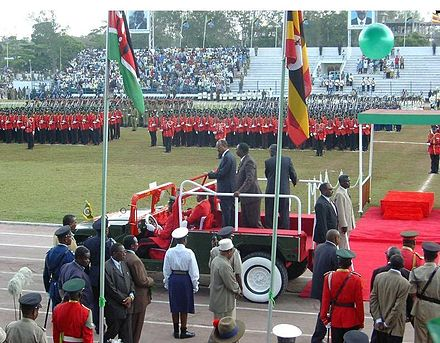 President Amani Abeid Karume participating in a military parade to mark the 40th anniversary of the revolution