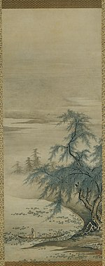Tall and narrow painting with a tree and a lake covered with lotus flowers in the lower half. A boat with a man is floating on the lake.