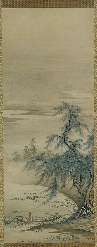 Kanō school - Zhou Maoshu Appreciating Lotuses A hanging scroll painted by Kanō Masanobu
