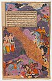 """Asvatthama Fires the Narayana Weapon (Cosmic Fire) at the Pandavas"", Folio from a Razmnama MET DP372510.jpg"