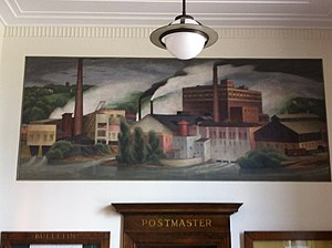 "Marseilles, Illinois - 1938 WPA mural, ""Industrial Marseilles"" by Avery Johnson. in Marseilles Post Office"