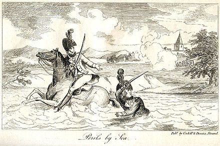 The Duke of York narrowly escapes across a brook 'Peril at Sea'.jpg