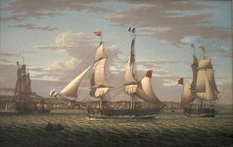Industrial Revolution in Scotland - Ships off Greenock, Scotland (1813) by Robert Salmon