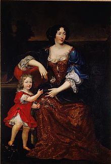 Élisabeth (Isabelle) d'Orléans, Duchess of Guise with her son by Mignard.jpg
