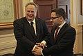 Συνάντηση ΥΠΕΞ Ν. Κοτζιά με Αντιπρόεδρο Κυβέρνησης πΓΔΜ F. Besimi (04.06.15).jpg