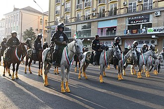 Independence Day (Tajikistan) - A mounted police battalion during the parade in 2016.