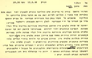 המברק עמד בבסיס הדיון שהתקיים במנהלת העם ב-12 במאי בנוגע לשאלה האם להכריז על הקמת המדינה ב-15 במאי