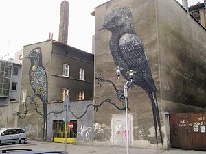 ROA (artist) - Artwork depicting birds in Katowice, Poland