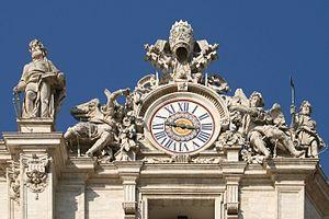 Giuseppe Valadier - Image: 0 Horloge et Statue St Simon Côté droit façade St Pierre (Vatican)