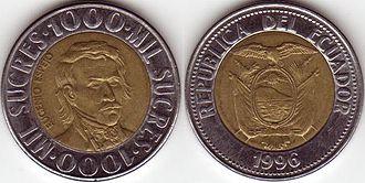 Ecuadorian sucre - Image: 1000+Sucres+Ecuador+ 1996