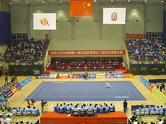 Wushu (sport) - A typical wushu competition, here represented by the 10th All-China Games.