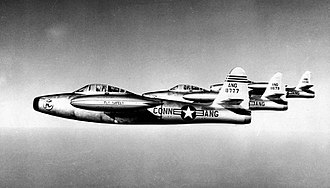 103d Airlift Wing - 118th Fighter-Bomber Squadron - F-84D Thunderjet formation 1954
