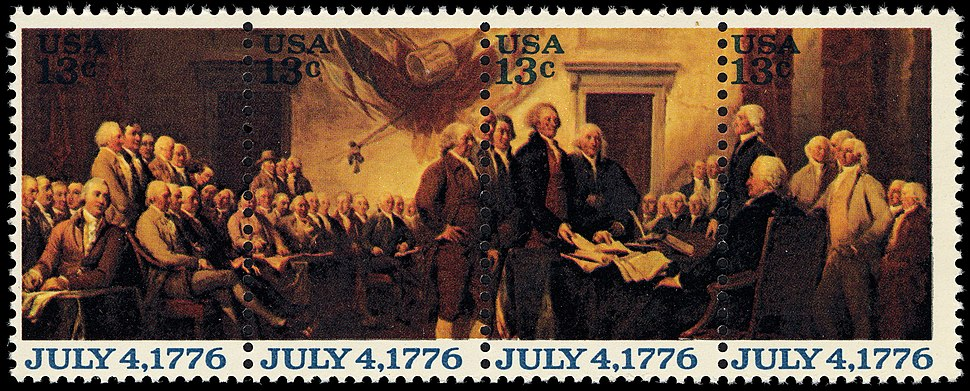 13-cent Declaration strip of four 1976 U.S. stamp.1