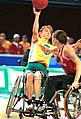 141100 - Wheelchair basketball Paula Coghlan passes - 3b - 2000 Sydney match photo.jpg
