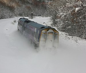 The wrong type of snow - A Northern Rail Class 158 DMU on the Erewash Valley Line in Derbyshire, England, during heavy snow in 2010