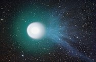 Comet en:17P/Holmes and its blue ionized tail