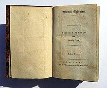 Novalis Schriften. Erstausgabe von 1802 (Quelle: Wikimedia)