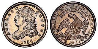 Capped Bust - Image: 1834 10C PR (large 4)