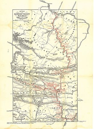 Lehigh Valley Railroad - 1870 map