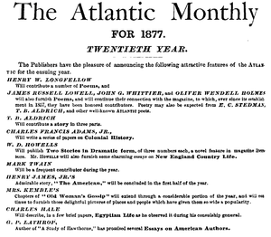 Charles Hale - Advertisement for Atlantic Monthly 1877, including article by Hale