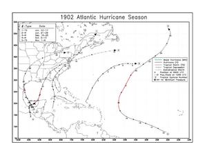 1902 Atlantic hurricane season - Image: 1902 Atlantic hurricane season map