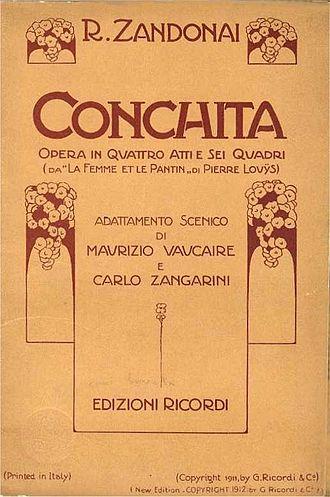 Conchita (opera) - The cover of the score of Conchita which was printed by G. Ricordi & Co in 1912.