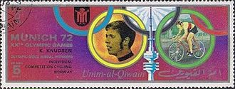 Knut Knudsen - Kundsen on a stamp of Umm al-Quwain