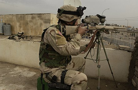 M24 sniper rifle, equipped with an AN/PVS-10 Sniper Night Sight (SNS). 1st Battalion, 24th Infantry snipers scanning for activity from a Mosul police station DA-SD-06-03422.jpg