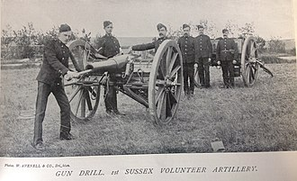 1st Sussex Artillery Volunteers - 16 Pounder Rifled Muzzle Loading gun of one of 1st Sussex Artillery Volunteers position batteries