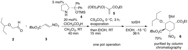 1st one-pot operation of Hayashi 2009 Synthesis.png
