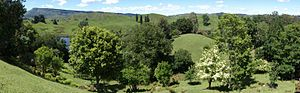 """Hackfalls Arboretum - View from """"the Ridge"""" to the south. In the background: Mount Whakapunake"""
