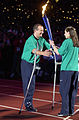201000 - Opening Ceremony paralympians Michael Milton Lisa Llorens torch - 3b - 2000 Sydney opening ceremony photo.jpg