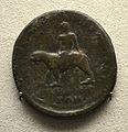 201209071748b Berlin Pergamonmuseum, Bronzemünze mit RS Dyonisos auf Panther, Pergamon, kaiserzeitlich, VS Lucius Verus,.161-169 u.Z.jpg