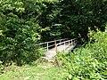 2013-08-17 13 14 51 Foot bridge over the outlet of Lake Ceva near the shore of Lake Sylva.jpg