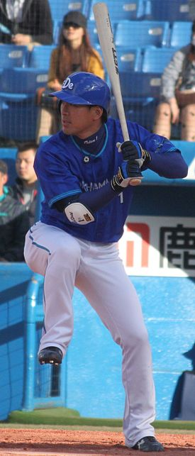 20130407 Tatsuhiko Kinjoh, outfielder of the Yokohama DeNA BayStars, at Meiji Jingu Stadium.JPG