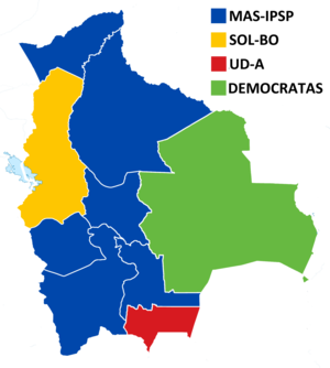 Bolivian regional elections, 2015 - Winning party in departmental governors' elections