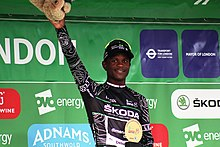 2018 Tour of Britain stage 8 - King of the Mountains Nick Dlamini.JPG